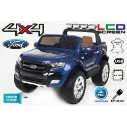 Coche Eléctrico Infantil FORD RANGER PICK-UP AZUL METALIZADO 4X4 12V - Versión Superior