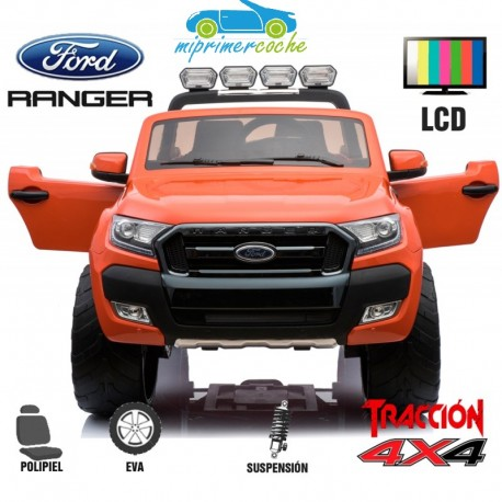 FORD RANGER PICK-UP NARANJA METALIZADO 4X4 12V PANTALLA MP4 - Versión Superior