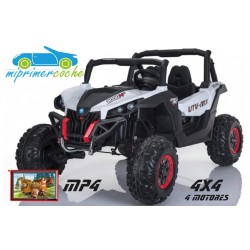 TODOTERRENO BUGGY UTV 4X4 12V BLANCO PANTALLA MP4 2 PLAZAS