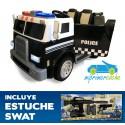 Camión eléctrico para niños POLICÍA NEGRO 12V  2 PLAZAS 2.4G
