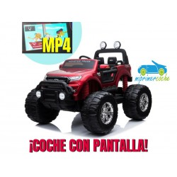 FORD MONSTER TRUCK 1 PLAZA 12V 4X4 ROJO METALIZADO Pantalla MP4