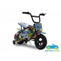 Moto eléctrica para niños 24V 250W color amarillo graffiti