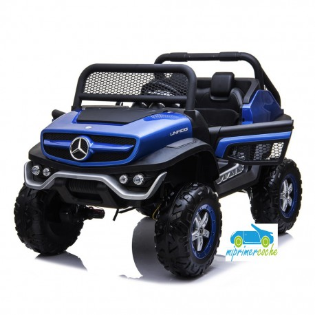 MERCEDES UNIMOG 12V 4X4 AZUL METALIZADO  2 PLAZAS MP4