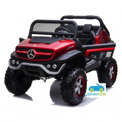 MERCEDES UNIMOG 12V 4X4 ROJO METALIZADO  2 PLAZAS MP4