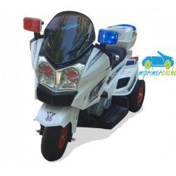 Moto eléctrica para niños TRIMOTO POLICIA 12V color blanco