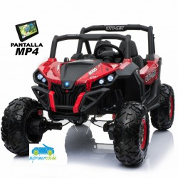 TODOTERRENO BUGGY UTV 4X4 12V ROJO SPIDER PANTALLA MP4 2 PLAZAS