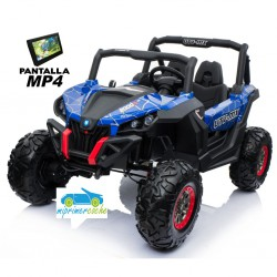 TODOTERRENO BUGGY UTV 4X4 12V AZUL SPIDER PANTALLA MP4 2 PLAZAS