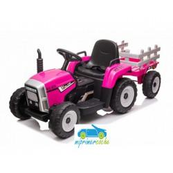 Tractor Eléctrico para Niños BLOW TRUCK 12v ROSA 2.4G con remolque