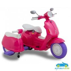 Moto Eléctrica para niños VESPA STYLE CON SIDECAR 12V color rosa