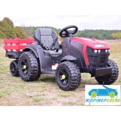 Tractor Eléctrico para Niños TRAC 7100 12v ROJO 2.4G con remolque