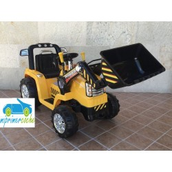 Tractor eléctrico amarillo para niños con pala excavadora CAT STYLE 12V con mando distancia