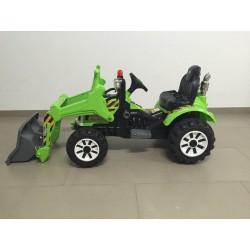 Tractor eléctrico verde para niños con pala excavadora CLASS STYLE 12V