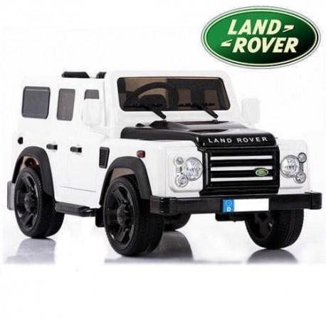 Coche eléctrico para niños LAND ROVER DEFENDER 12V BLANCO  con mando a distancia 2.4G y ruedas de caucho
