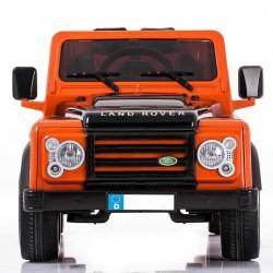 Coche eléctrico para niños LAND ROVER DEFENDER 12V ORANGE , con mando a distancia 2.4G y ruedas de caucho