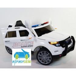 Coche eléctrico para niños POLICÍA blanco12V con mando a distancia 2.4G