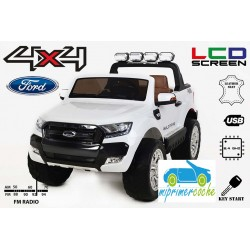 Coche Eléctrico Infantil FORD RANGER PICK-UP BLANCO 4X4 12V - Versión Superior