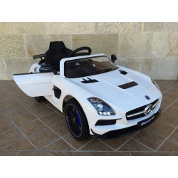 MERCEDES SLS  blanco 12V con pantalla video MP4