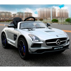 MERCEDES SLS plata pintado 12V mando distancia  2.4G  y video MP4